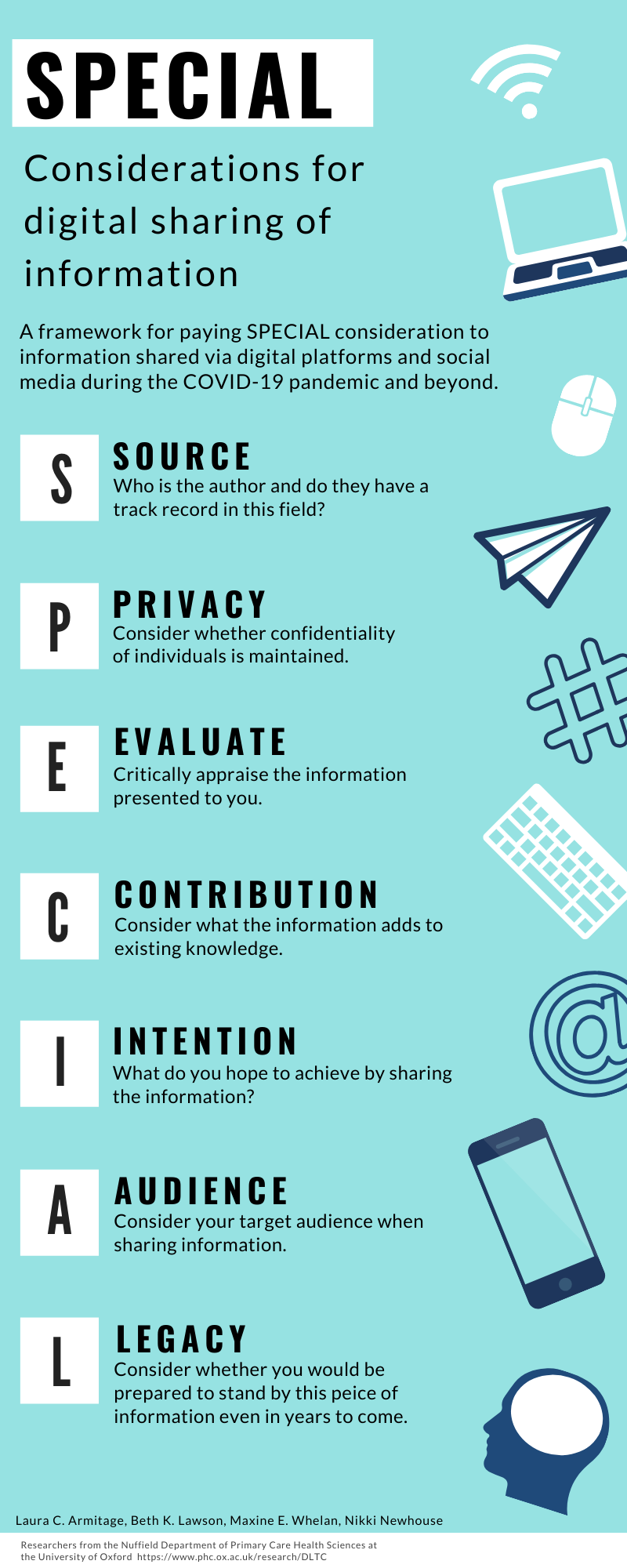 DLTC group researchers have published the paper: Paying SPECIAL consideration to the digital sharing of information during the COVID-19 pandemic and beyond. Click the 'See more' button below to see the paper and infographic in full